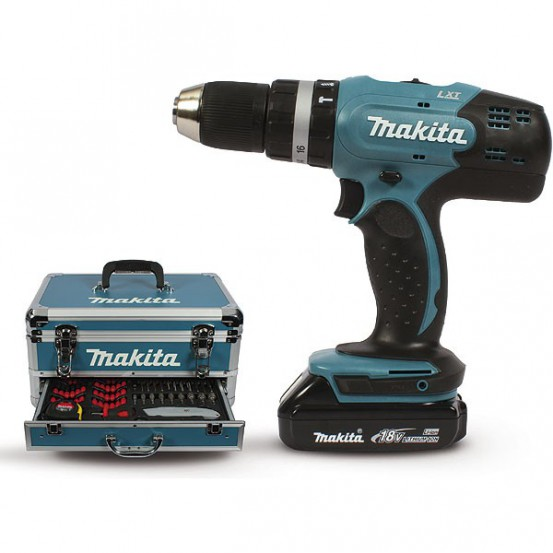 Perceuse visseuse à percussion MAKITA 18 V Li-Ion 1,5 Ah D 13 mm (2 batteries + kit d'accessoires)