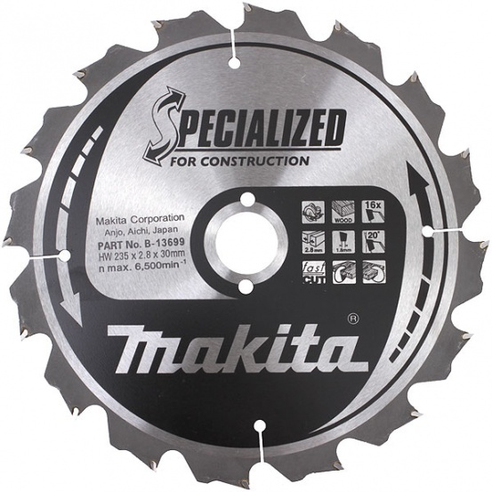 Lot de lames carbures ''Specialized'' Construction MAKITA