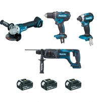 Ensemble de 4 machines 18 V Li-Ion 5 Ah MAKITA