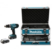 Perceuse visseuse à percussion MAKITA HP457DWEX4 18 V Li-Ion 1,3 Ah Ø 13 mm