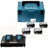 Pack 4 batteries 18V 5Ah + chargeur + MAKPAC MAKITA