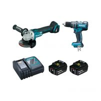 Ensemble 2 machines 18V 5Ah: Perceuse visseuse à percussion DHP480 + Meuleuse DGA504 MAKITA
